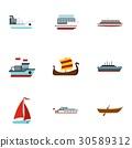 Sailing icons set, flat style 30589312