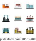 Factory icons set, flat style 30589480
