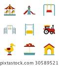 icon, set, flat 30589521