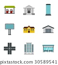 Urban infrastructure icons set, flat style 30589541