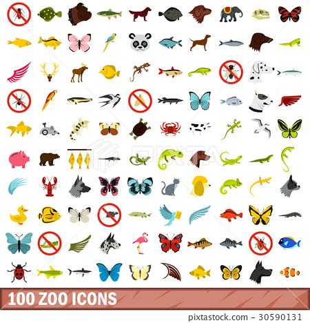 100 zoo icons set, flat style 30590131