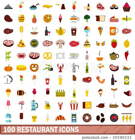 100 restaurant icons set, flat style 30590332