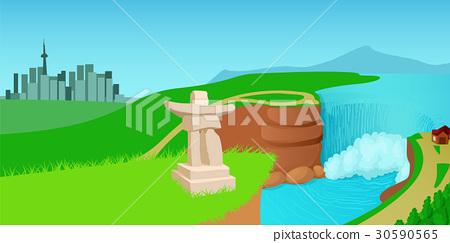 Canada landscape horizontal banner, cartoon style 30590565
