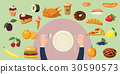 Food horizontal banner plate, cartoon style 30590573