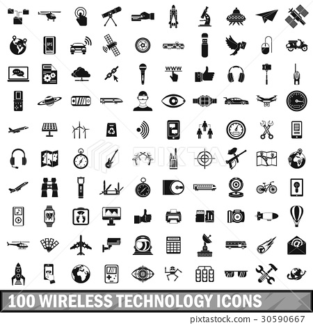 100 wireless technology icons set, simple style 30590667