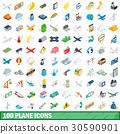 100, plane, icons 30590901