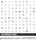 100, spring, icons 30590950