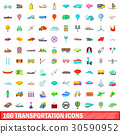 100, transportation, icons 30590952