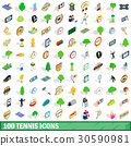 100 tennis icons set, isometric 3d style 30590981