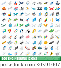 100 engineering icons set, isometric 3d style 30591007