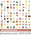100 cookware icons set, flat style 30591028