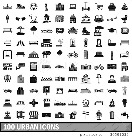 100 urban icons set, simple style 30591033