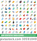 100 statistic data icons set, isometric 3d style 30591049