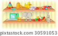 toys, shelf, horizontal 30591053