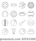 Sport balls icons set, outline style 30591089