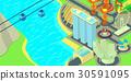 Singapore horizontal banner, cartoon style 30591095