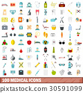 100 medical icons set, flat style 30591099