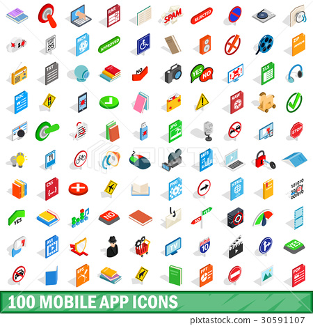 100 mobile app icons set, isometric 3d style 30591107