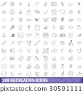 100 recreation icons set, outline style 30591111