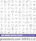 100 smart house icons set, outline style 30591112