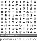 100, tourism, icons 30591127