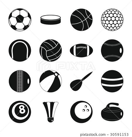 Sport balls icons set, flat style 30591153