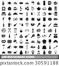 100, restaurant, icons 30591188