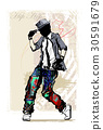 Hip hop dancer on grunge background 30591679