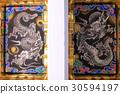 日光東照宮Yomei門的龍的天花板繪畫 30594197