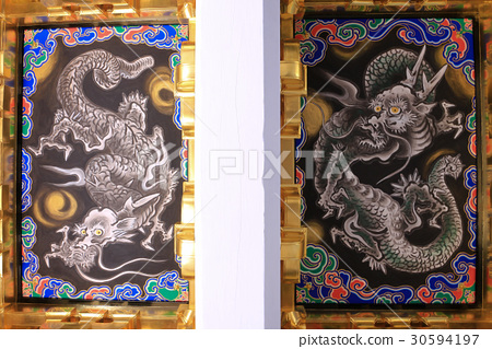 Ceiling painting of the dragon of the Nikko Toshogu Shrine Yomei gate 30594197