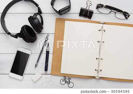 Stationery supplies - flat lay of desktop 30594395
