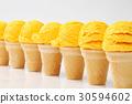 Yellow ice cream cones in a row 30594602