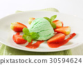 Green ice cream with strawberries 30594624