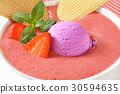 Strawberry soup with ice cream 30594635