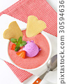 Strawberry soup with ice cream 30594636