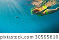 child, woman, snorkel 30595610