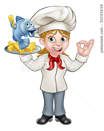 Cartoon Chef Fish and Chips Woman 30595639