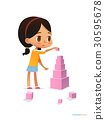 Girl with dark hair stands and builds tall pyramid 30595678