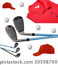 Golf clubs, polo, ball and cap on white 30598700