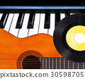 Guitar, piano and vinyl record. 30598705