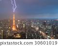 Lightning storm over Tokyo city, Japan  30601019