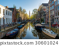 Houses and Boats on Amsterdam Canal, Netherlands. 30601024