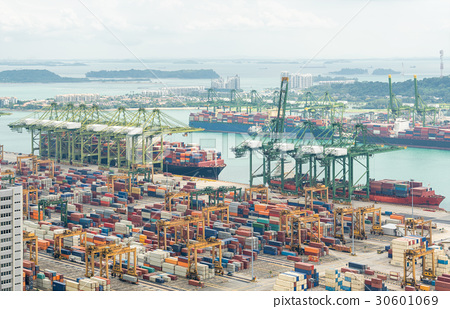 Aerial view of Singapore shipping port  30601069