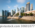 Singapore business district skyline with sunrise  30601077