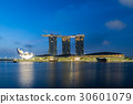 Singapore business district skyline before sunrise 30601079