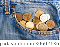 Coins in faded jeans. 30602136