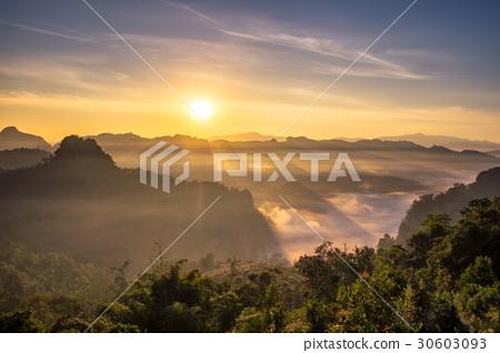 Scenic landscape sunshine over hill in morning 30603093