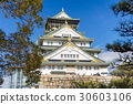 Beautiful architecture osaka castle with tree 30603106