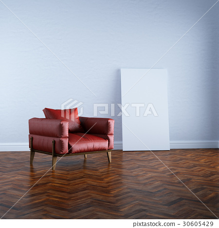 3d render red armchair in white interior mock up 30605429
