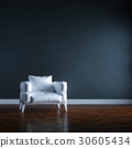 Luxury white sofa in black wall interior. 3d  30605434